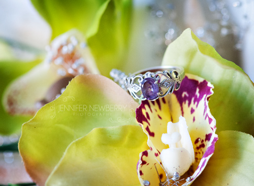 Newmarket Wedding Photographer - purple engagement ring in flowers