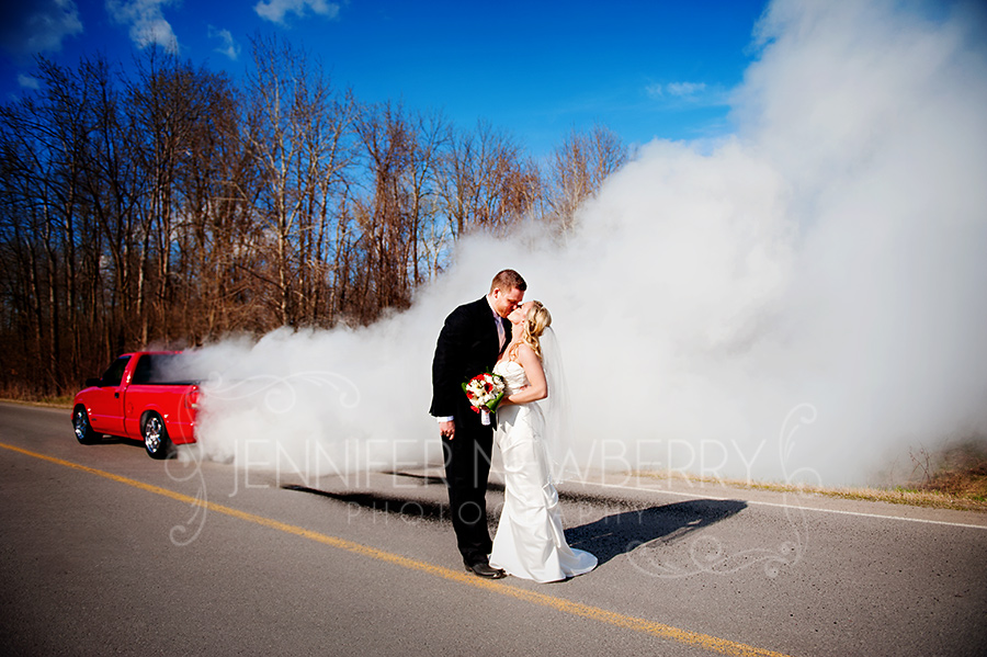 Truck Burnout with wedding couple by www.jnphotography.ca @filemanager