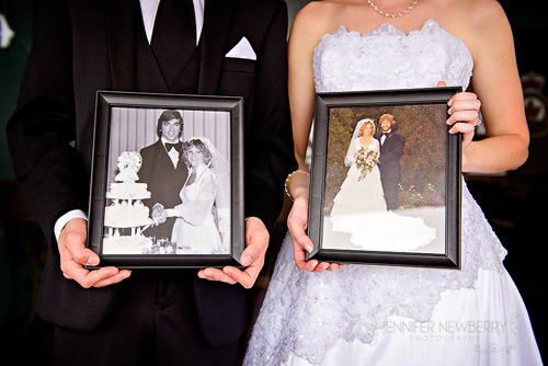 Wedding couple with wedding photos of their parents by www.jnphotography.ca @filemanager
