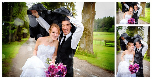 Wedding couple in the rain by www.jnphotography.ca @filemanager
