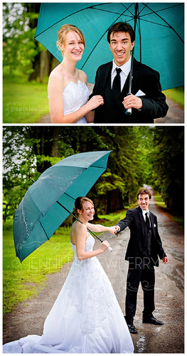 Wedding couple in the rain with an umbrella by www.jnphotography.ca @filemanager