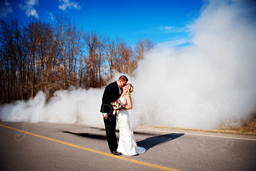 Wedding couple truck burnout by www.jnphotography.ca @filemanager