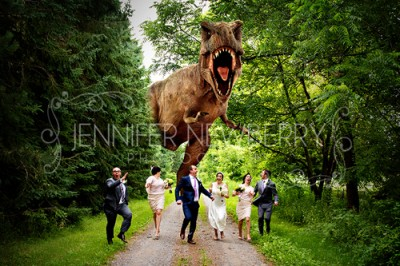 Dinosaur chasing wedding party by www.jnphotography.ca @filemanager