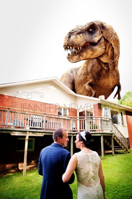Dinosaur photobombs bride and groom by www.jnphotography.ca @filemanager