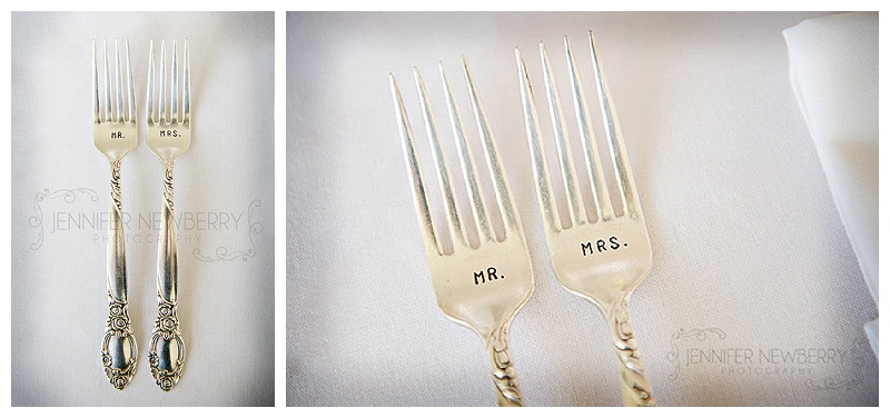 Custom Mr. and Mrs. forks. Photo by www.jnphotography.ca @filemanager