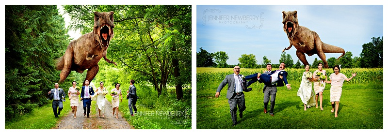 Mount Albert wedding party running from dinosaur by www.jnphotography.ca @filemanager