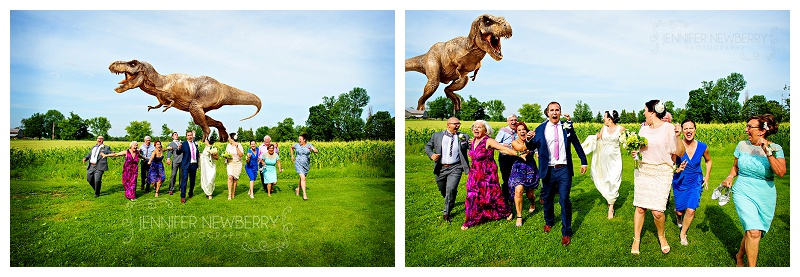 Mount Albert family running from dinosaur by www.jnphotography.ca @filemanager