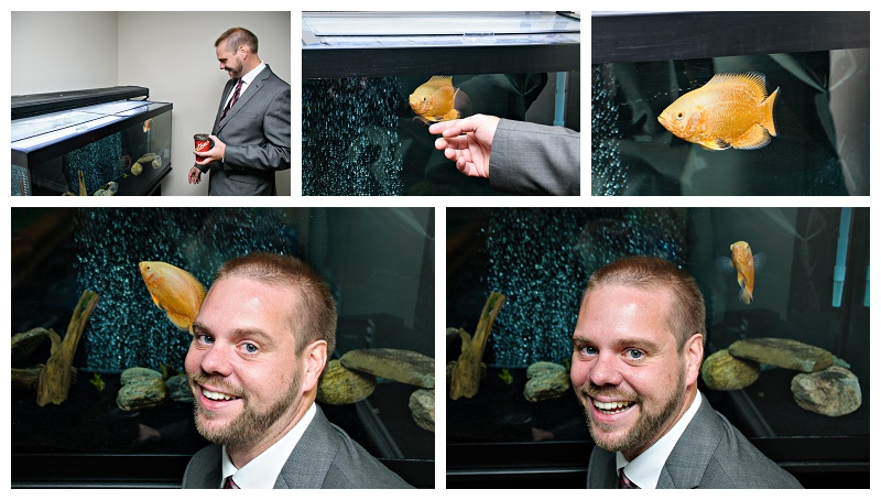 Bradford groom with his fish. Photos by Bradford wedding photographer www.jnphotography.ca @filemanager