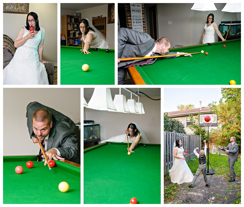 Bradford bride and groom playing pool by Bradford wedding photographer www.jnphotography.ca @filemanager