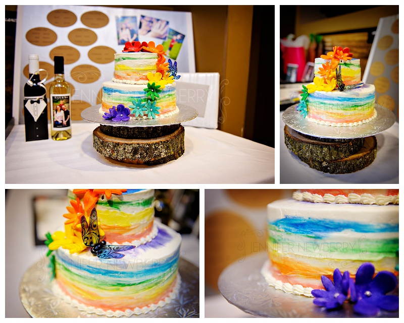 Bradford Walmart rainbow wedding cake by Bradford wedding photographer www.jnphotography.ca @filemanager
