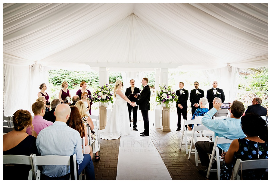 Hockley Valley ceremony photo on the Montclair patio by Newmarket wedding photographer www.jnphotography.ca