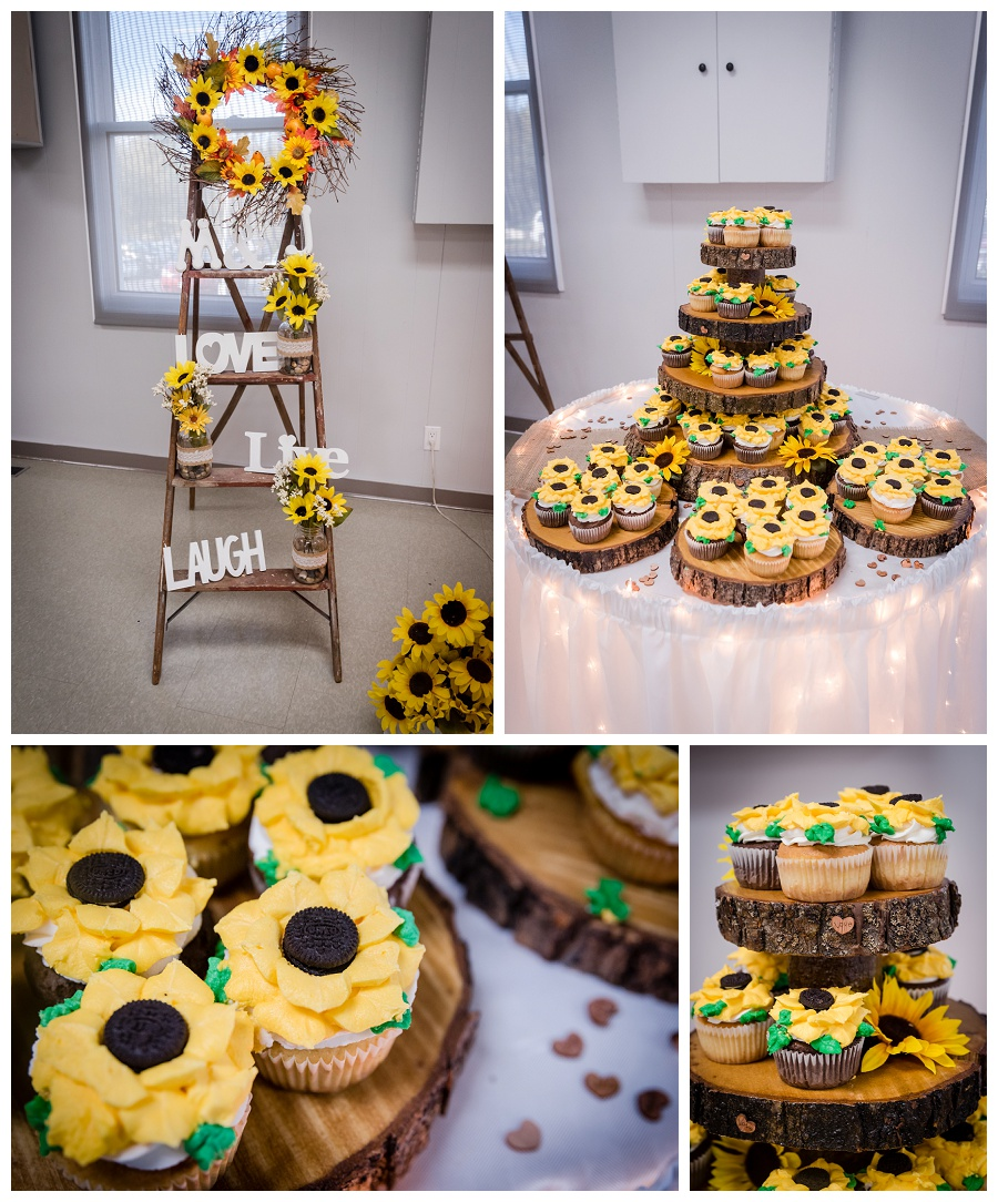 Kawartha Lakes sunflower wedding cupcake photos by www.jnphotography.ca